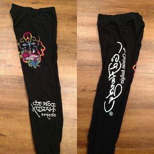 Ed Hardy black leggings rainbow detail sz S